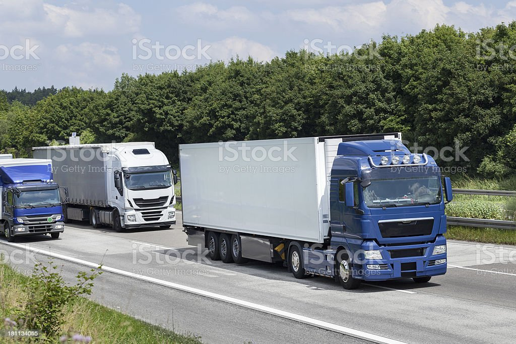 Trucks on highway royalty-free stock photo