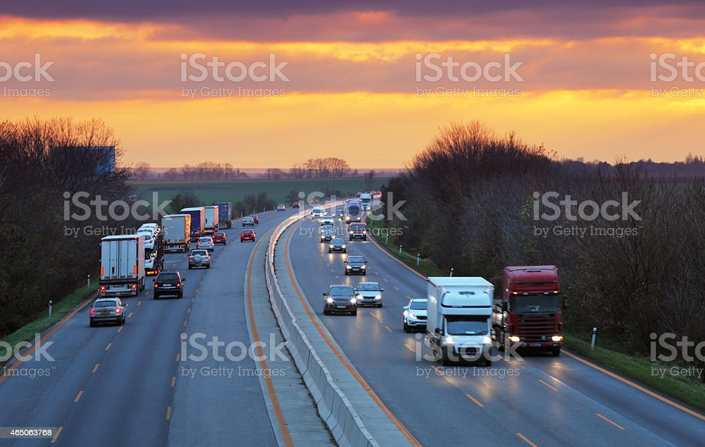 Trucks on highway, Traffic stock photo