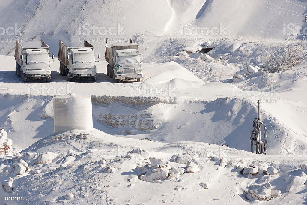 Trucks On Snow stock photo