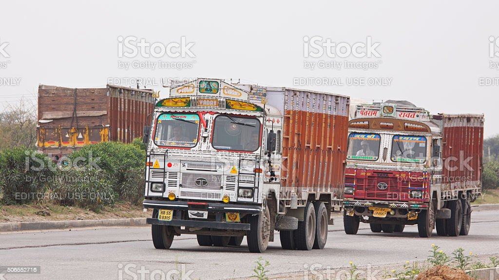 Trucks on the move through Rajasthan, India stock photo