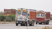Trucks on the move through Rajasthan, India