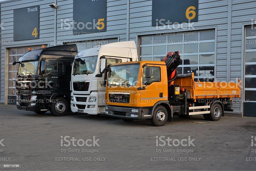 MAN trucks on the parking stock photo