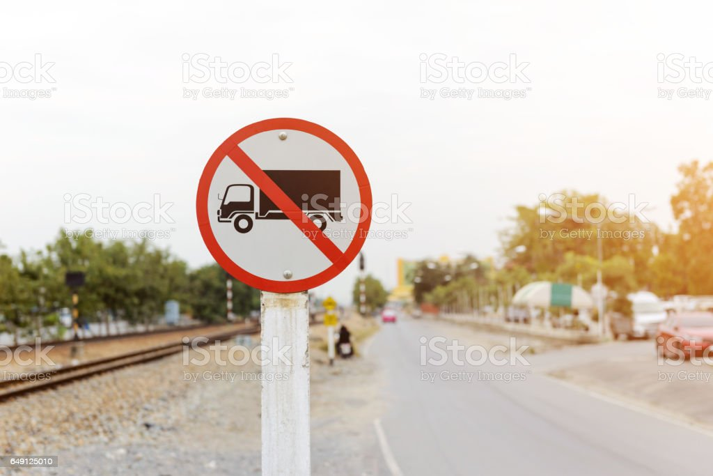Trucks Prohibited sign. No truck allowed sign stock photo