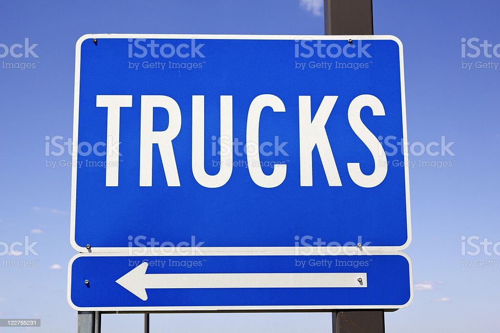 Trucks sign stock photo