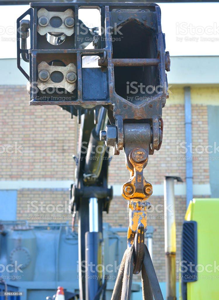 Truck´s Telescopic Arm Raise the Cargo stock photo