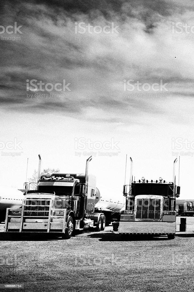 Trucks,Arizona,USA.Black And White royalty-free stock photo