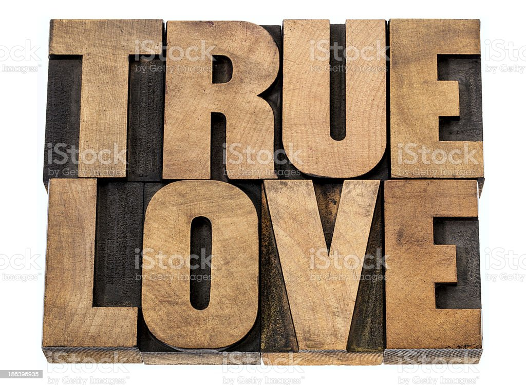 true love in wood type royalty-free stock photo