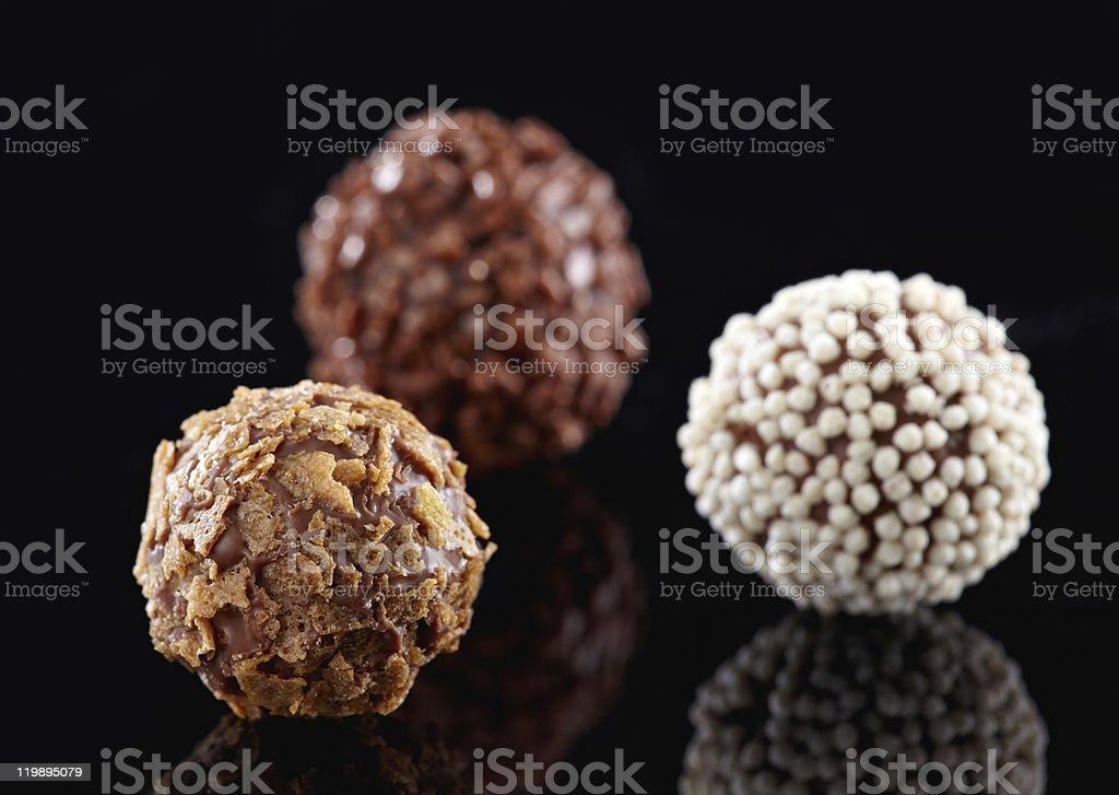 truffles chocolate macro stock photo