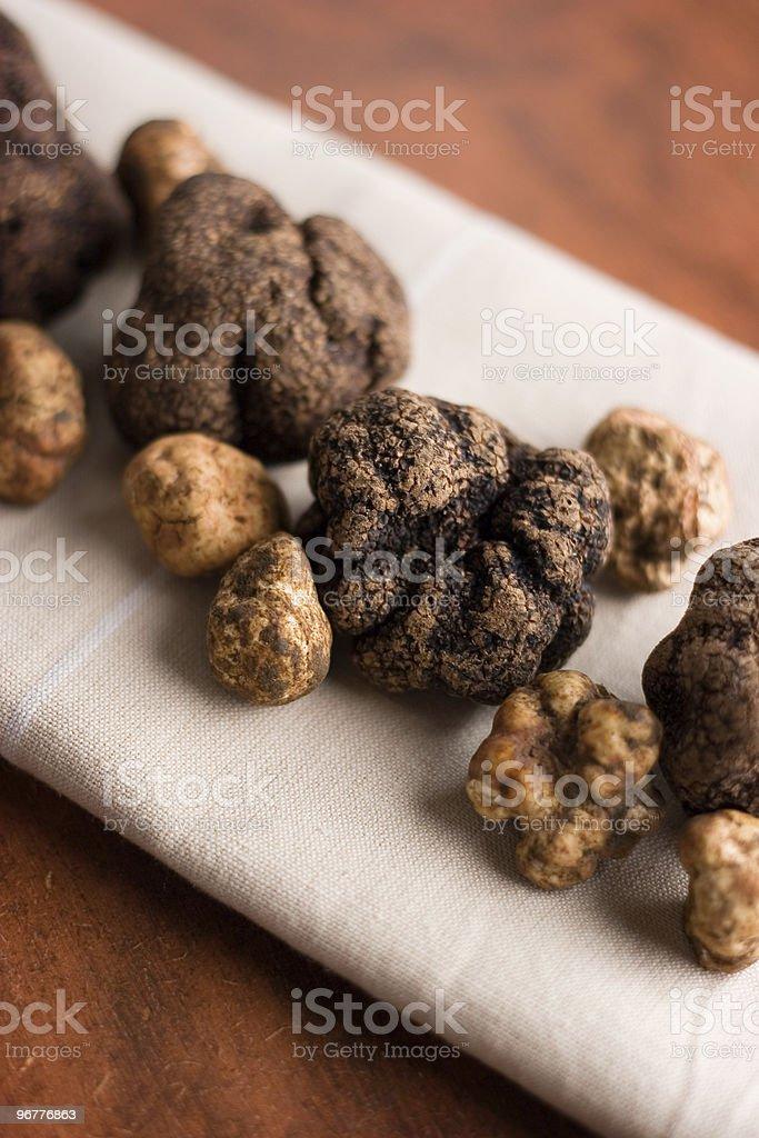 Truffles on Linen stock photo