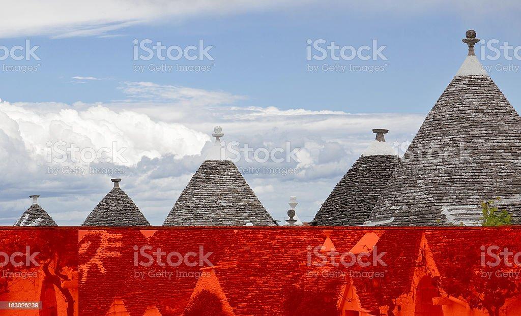 Trulli Roof Against Blue Sky, Apulia, Italy stock photo