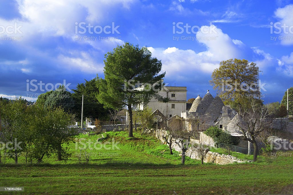 Trullo in countryside. Apulia. royalty-free stock photo