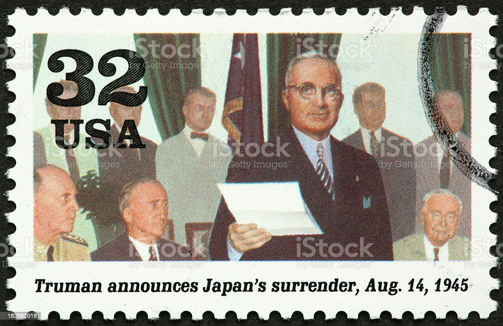 Truman and Japanese surrender in world war II stock photo