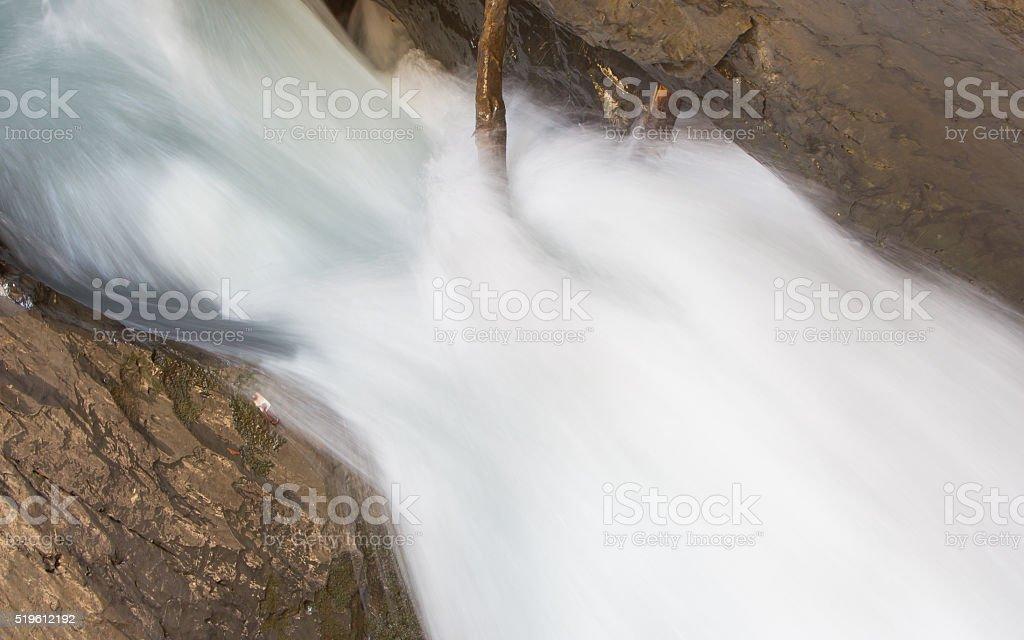 Trummelbach falls (Trummelbachfalle), waterfall in the mountain stock photo