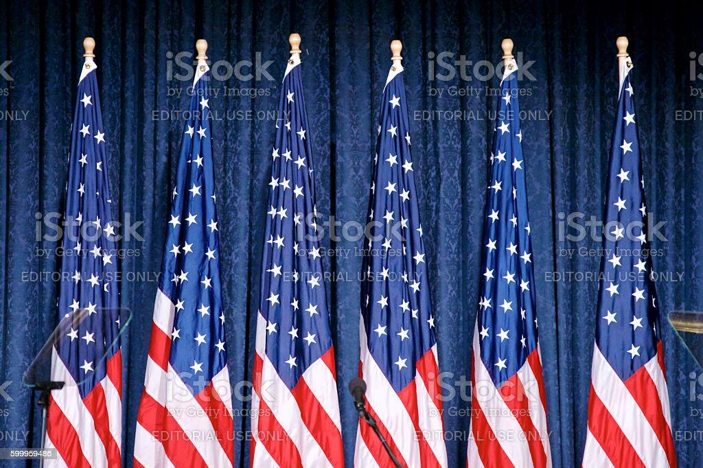 Trump announces security policy in Philadelphia, Pennsylvania stock photo