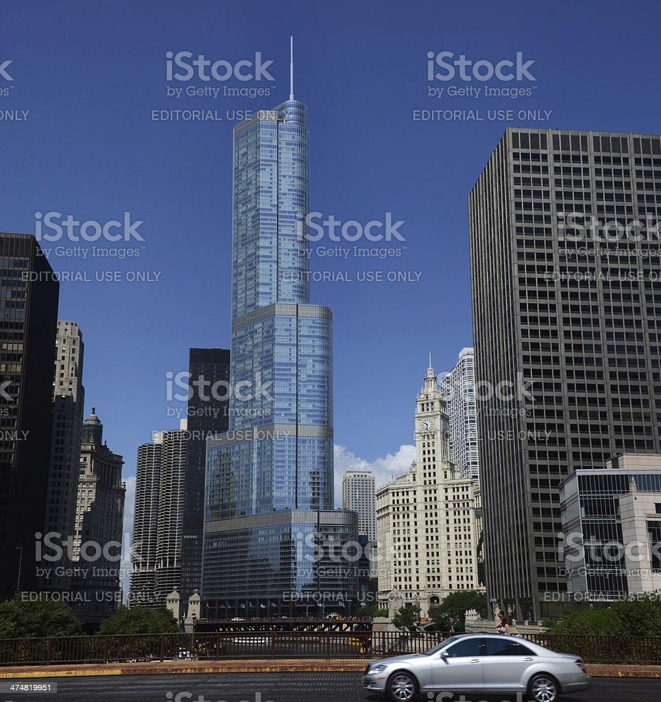 Trump International Hotel and Tower from bridge stock photo