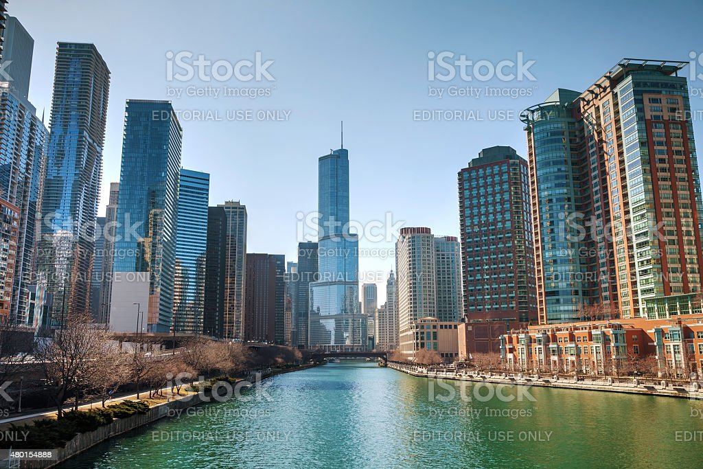 Trump International Hotel and Tower in Chicago, IL in morning stock photo