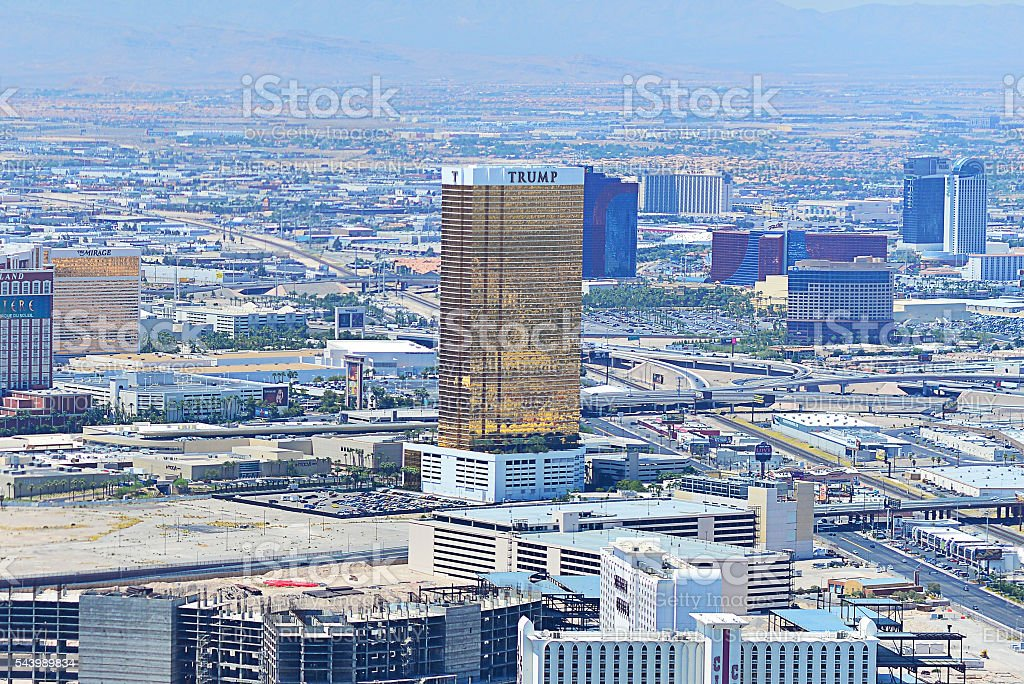 Trump International Hotel Las Vegas, Nevada, and surrondings from above. stock photo