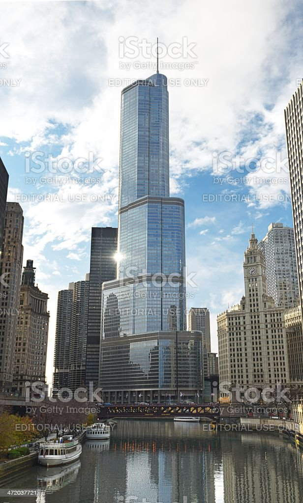 Trump International Tower in Chicago Illinoi stock photo