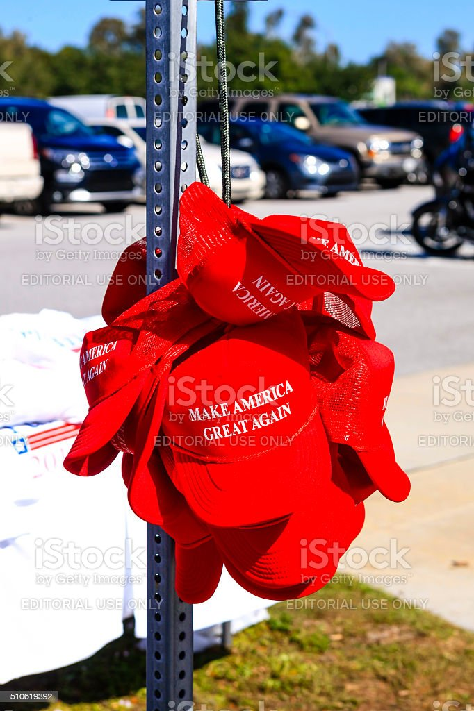 Trump Presidential slogan 'Make America Great Again' red baseball hats stock photo