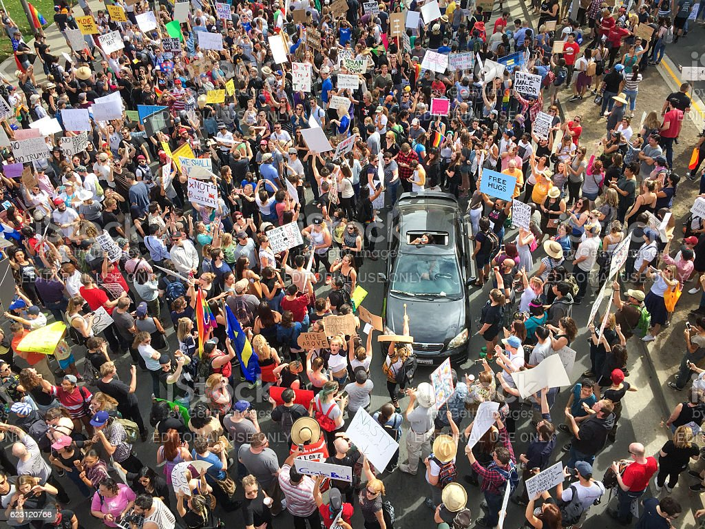 Trump Protest March, 3rd Street, Downtown Los Angeles royalty-free stock photo