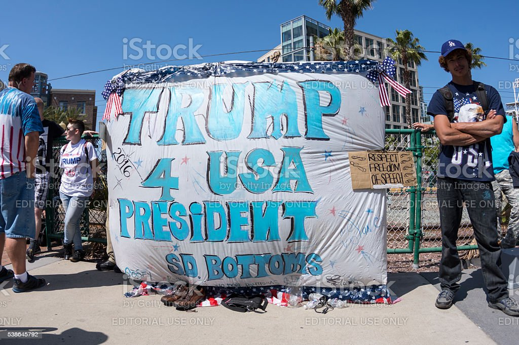 Trump supporters with Trump 4 USA President banner stock photo