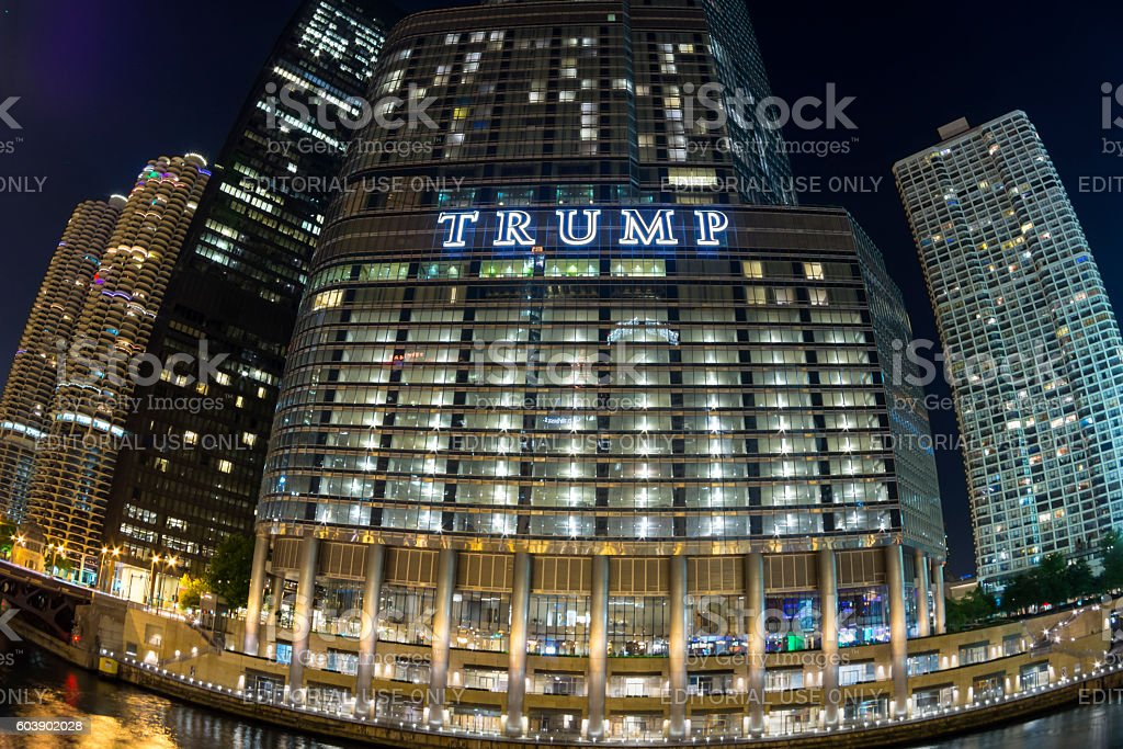 Trump Tower Chicago fisheye at night stock photo