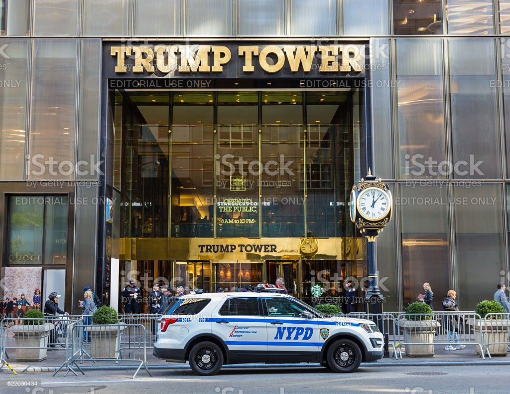 Trump Tower Guarded by NYC Police, 5th Avenue, Manhattan, NY. stock photo