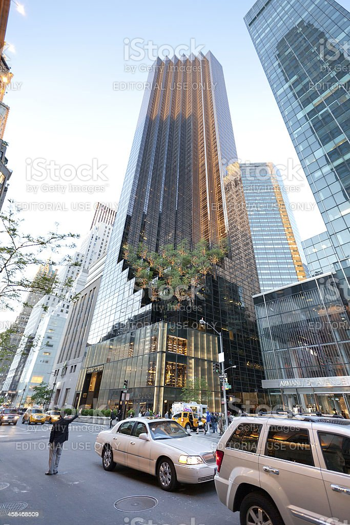 Trump Tower on Fifth Avenue and cars stock photo