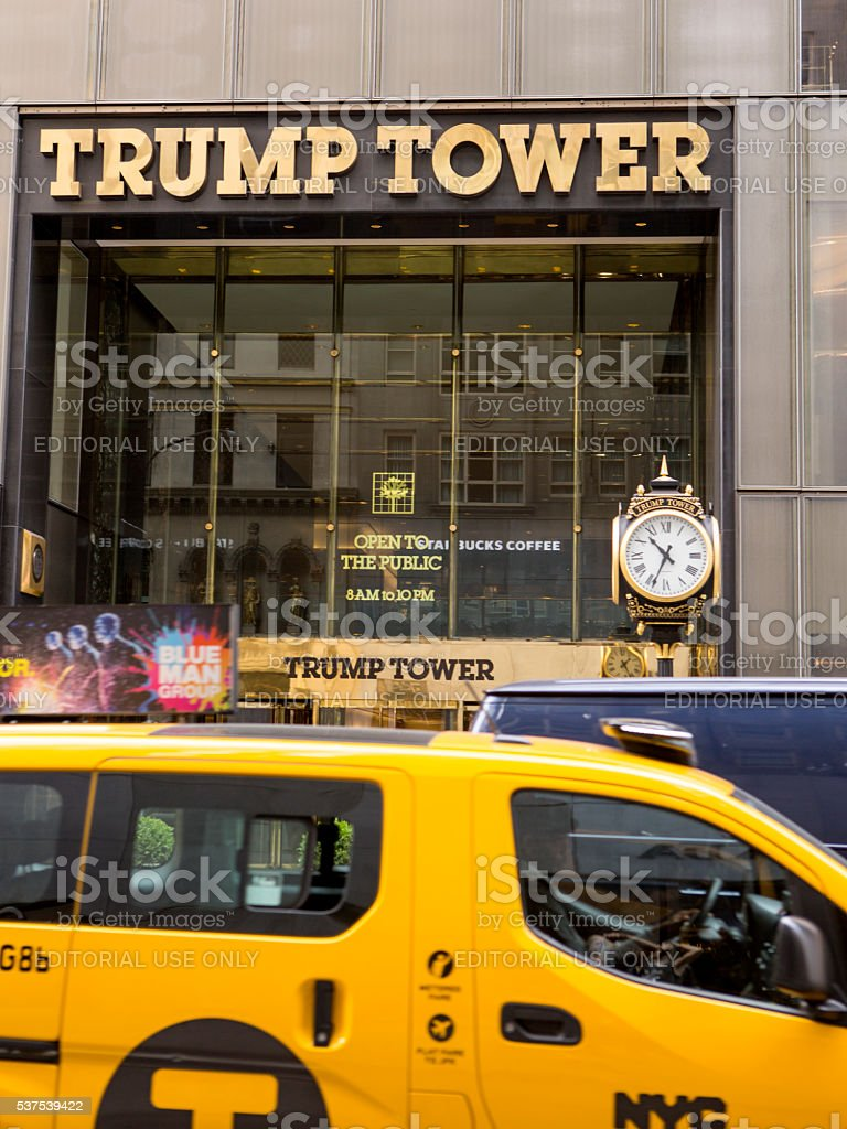 Trump Tower with Cab stock photo