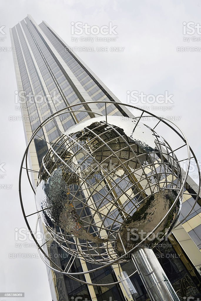 Trump tower with steel globe sculpture, New York City stock photo