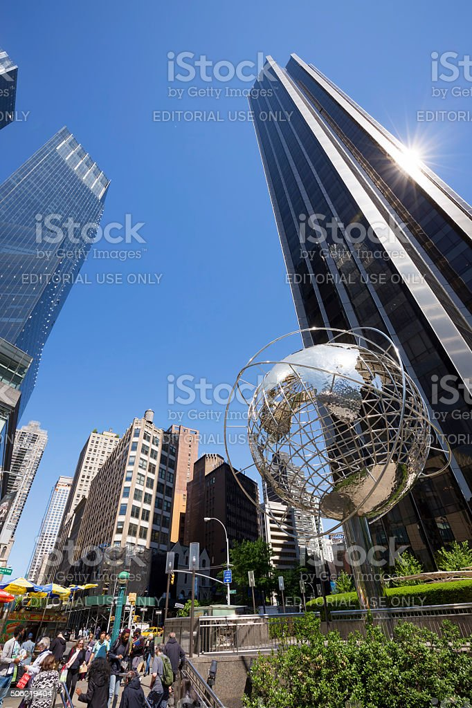 Trump Tower with steel globe sculpture, New York City, USA stock photo