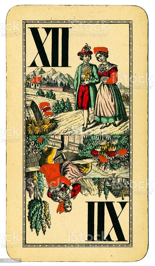 Trump XII Tarot Austrian Taroch playing card 1900 stock photo