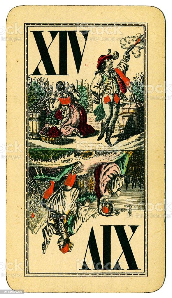 Trump XIV Tarot Austrian Taroch playing card 1900 stock photo