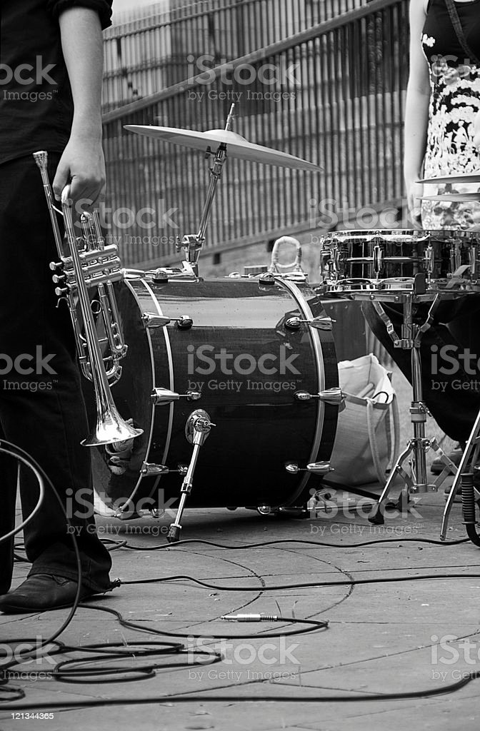 Trumpet and drums royalty-free stock photo