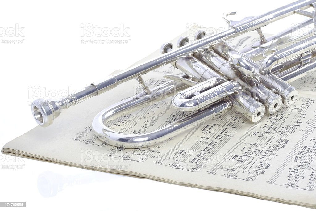 trumpet and music notes stock photo