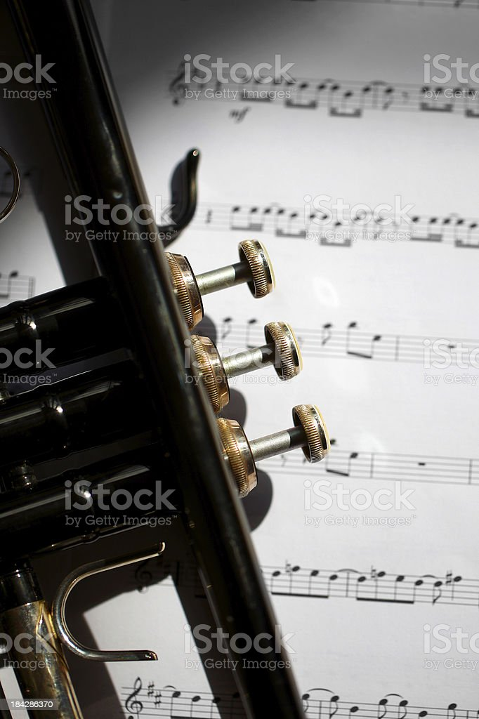 Trumpet and music royalty-free stock photo