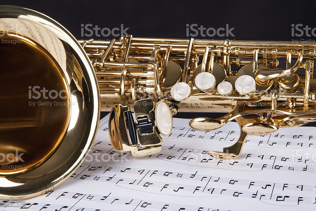 Trumpet And Musical Note stock photo