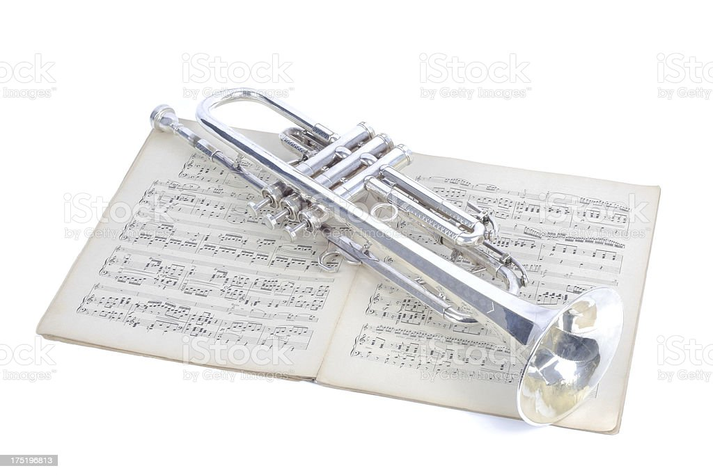 trumpet and sheet music royalty-free stock photo