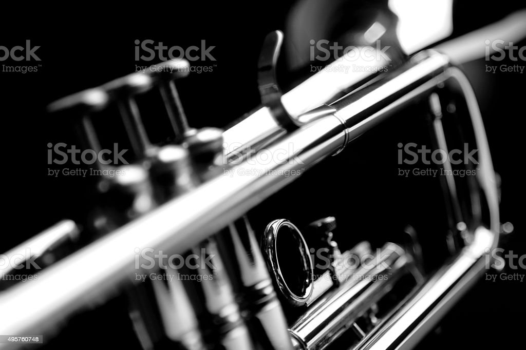 Trumpet. Black and white. stock photo
