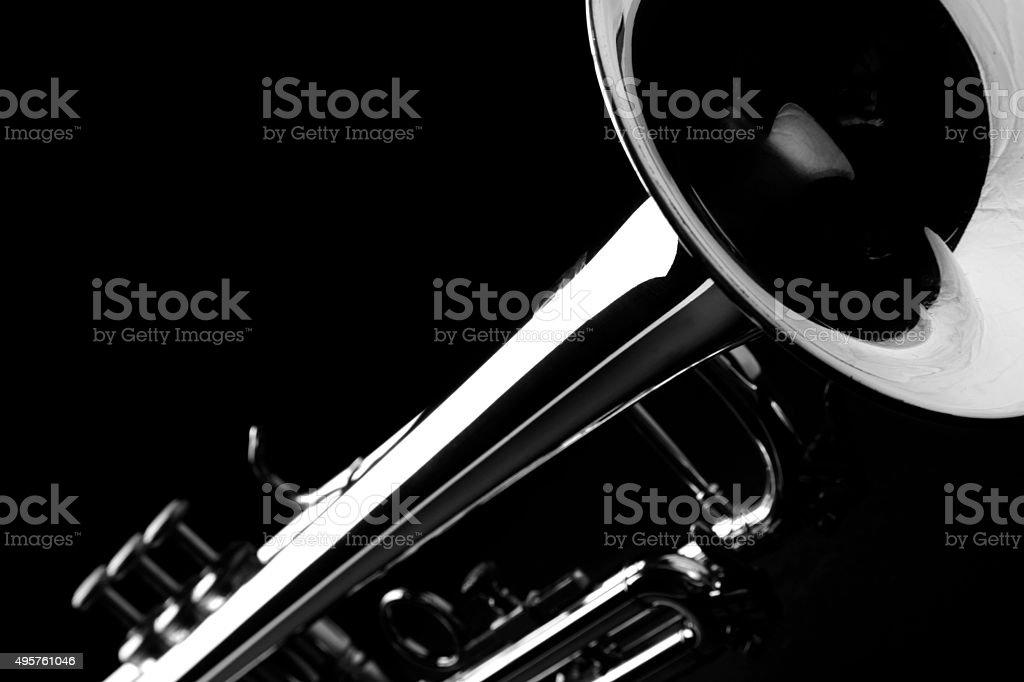 Trumpet. Black and white. stock photo