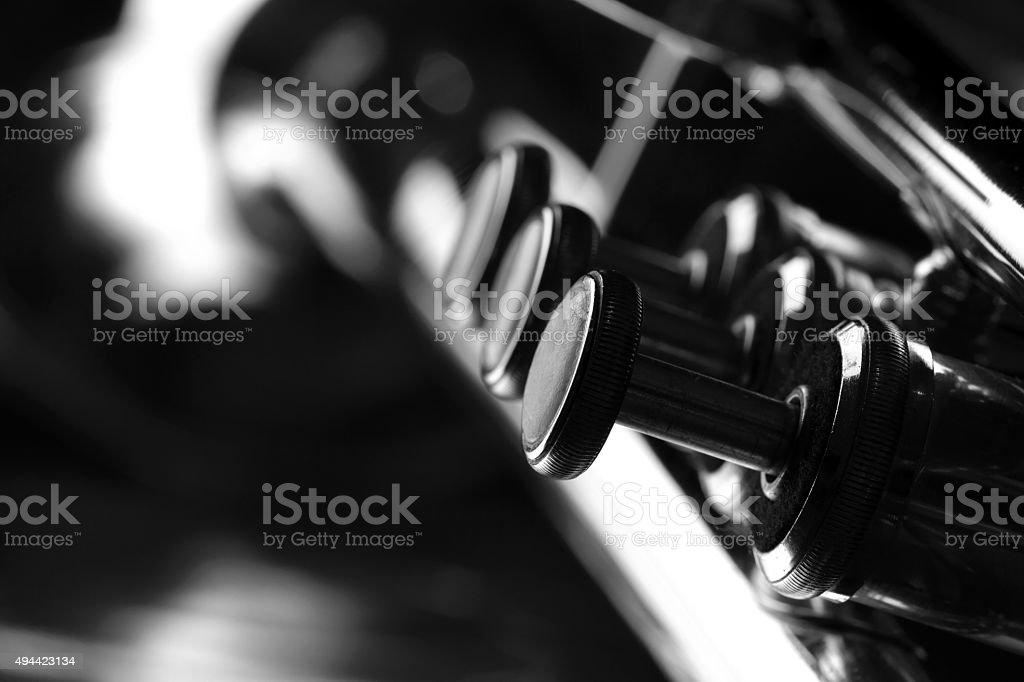 Trumpet closeup. Black and white. stock photo