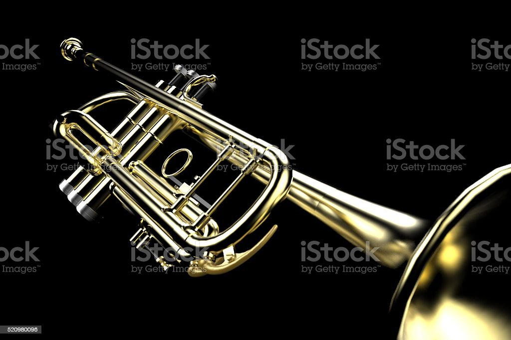 Trumpet Close-up Low key on Black Background Set stock photo
