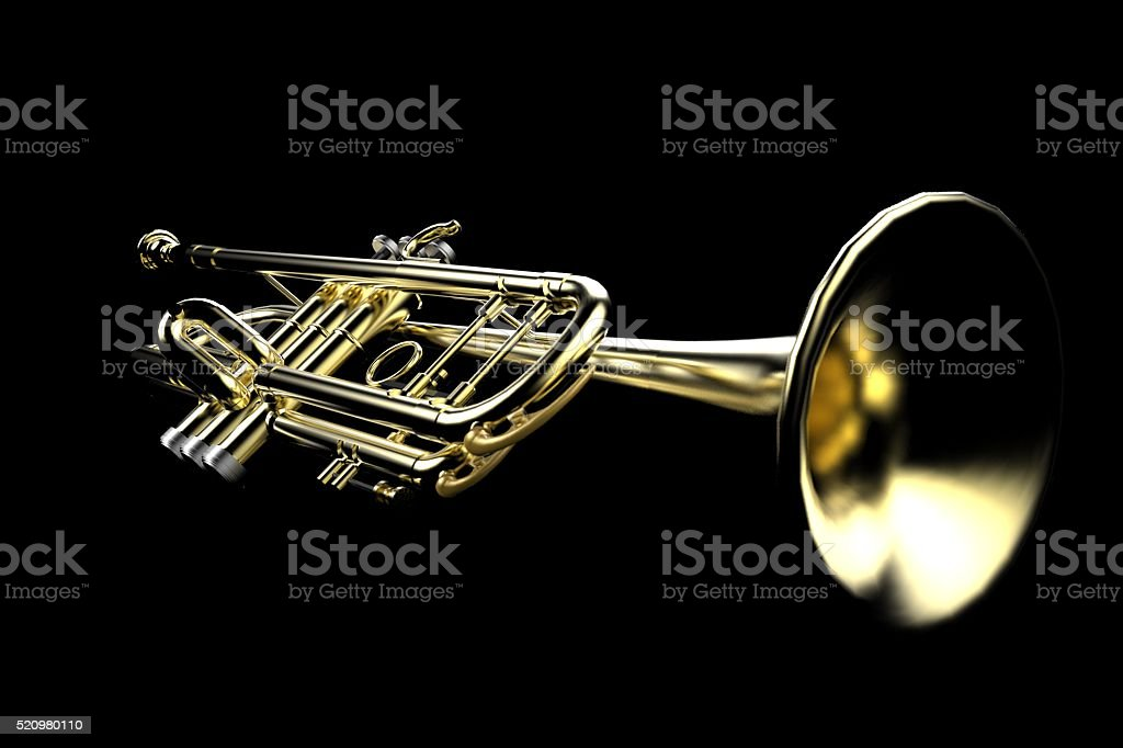 Trumpet Close-up Low key on Isolated On Black Set stock photo