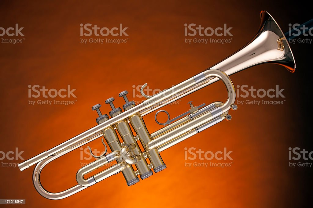 Trumpet Cornet Isolated On Yellow royalty-free stock photo
