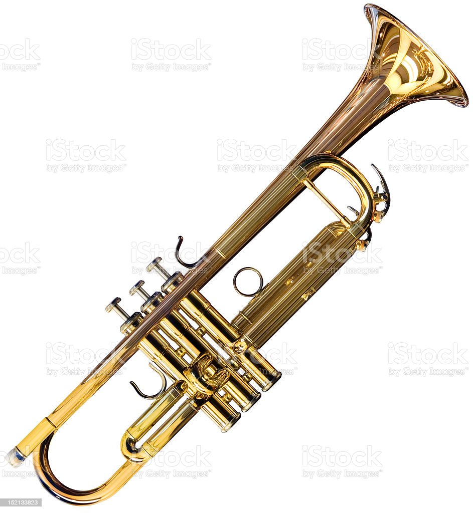 Trumpet cutout stock photo