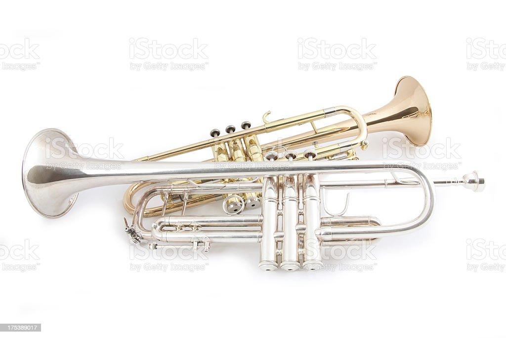 Trumpet Duet stock photo