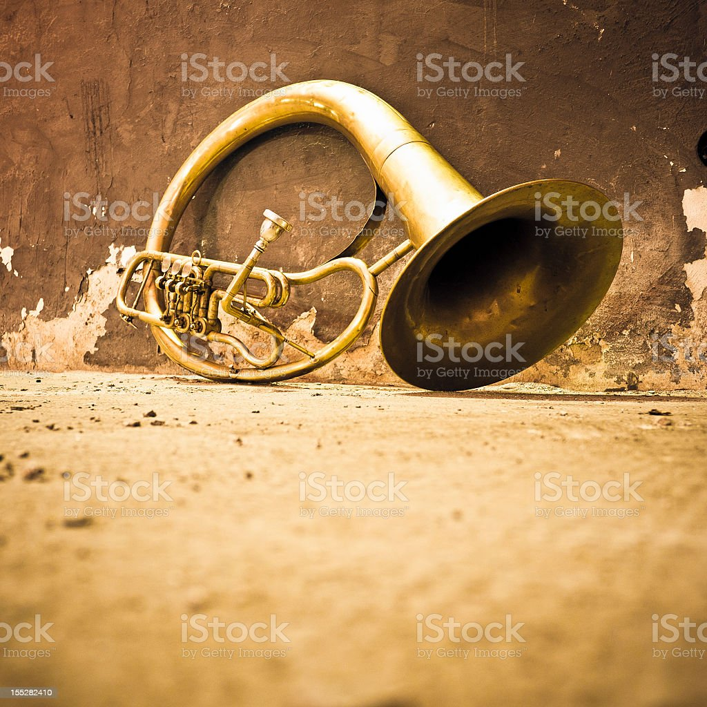 Trumpet Elicon In An Old Room royalty-free stock photo
