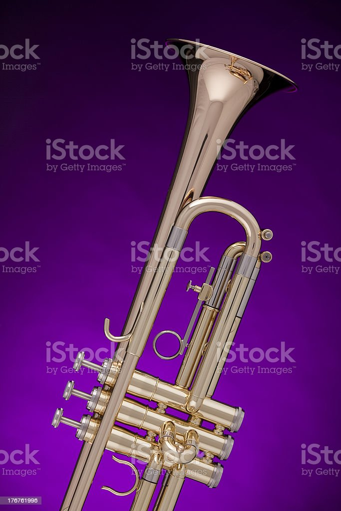 Trumpet Gold Isolated on Purple royalty-free stock photo
