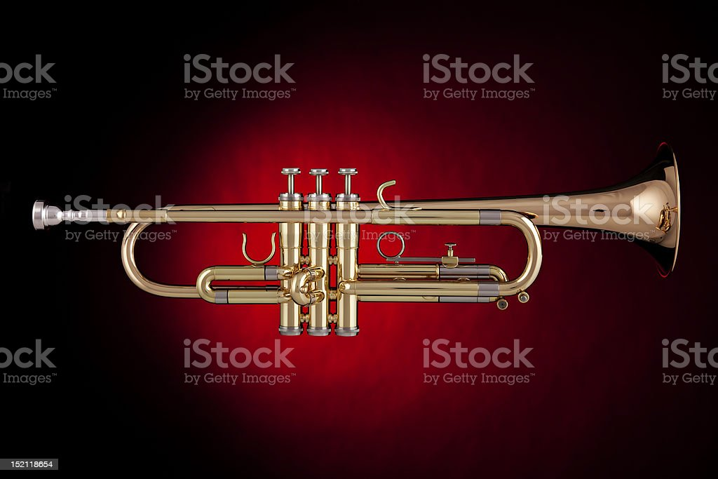 Trumpet Isolated in Red Spotlight royalty-free stock photo