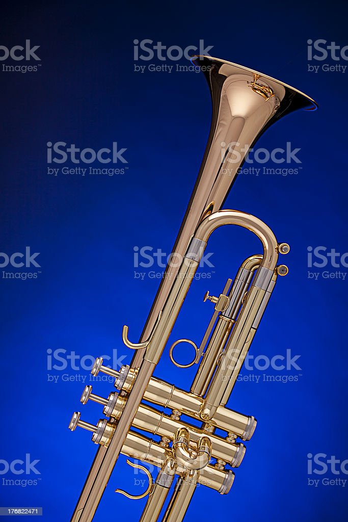 Trumpet Isolated on Blue royalty-free stock photo